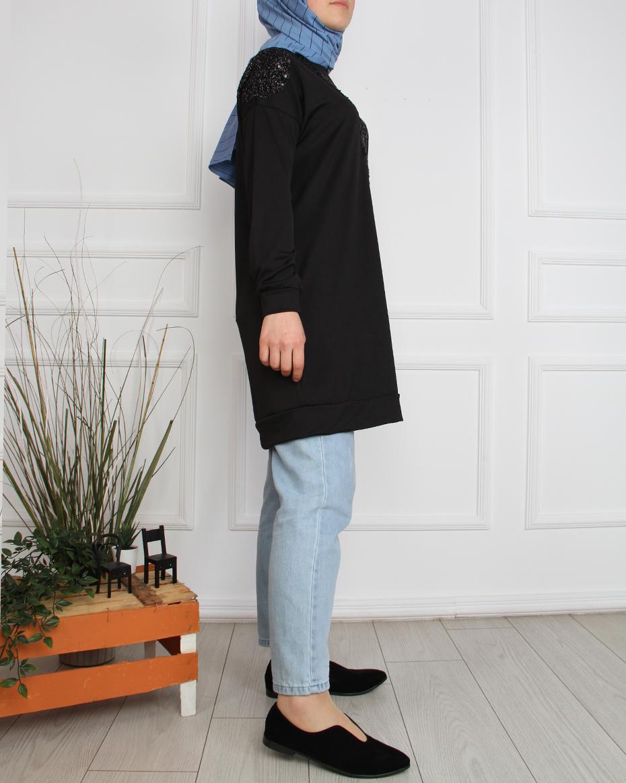Pullu V Formlu Tunik SİYAH