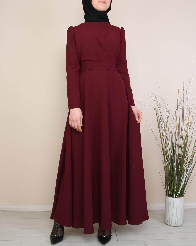 Ön Kısmı Detaylı Beli Bağlamalı Eteği Kloş Elbise MÜRDÜM