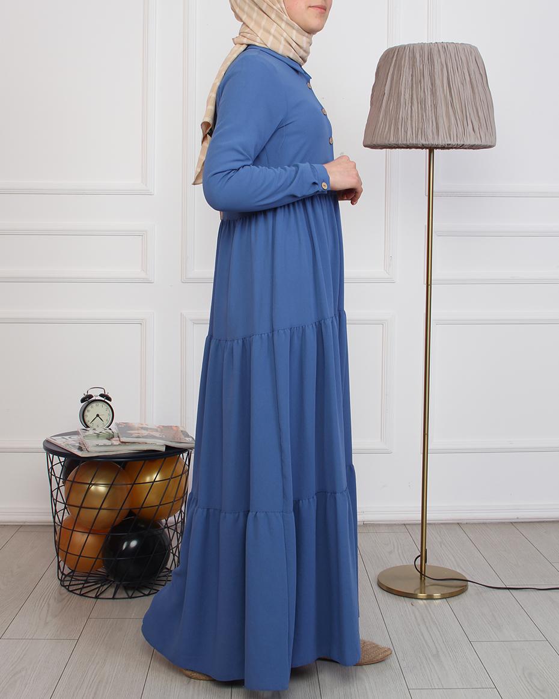 Önü Düğmeli Kat Katlı Elbise İNDİGO MAVİ