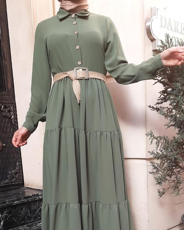 Önü Düğmeli Kat Katlı Elbise HAKİ