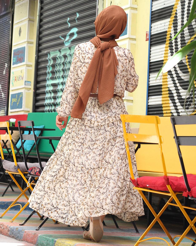 Kolları Lastikli Astarlı Şifon Elbise EKRU