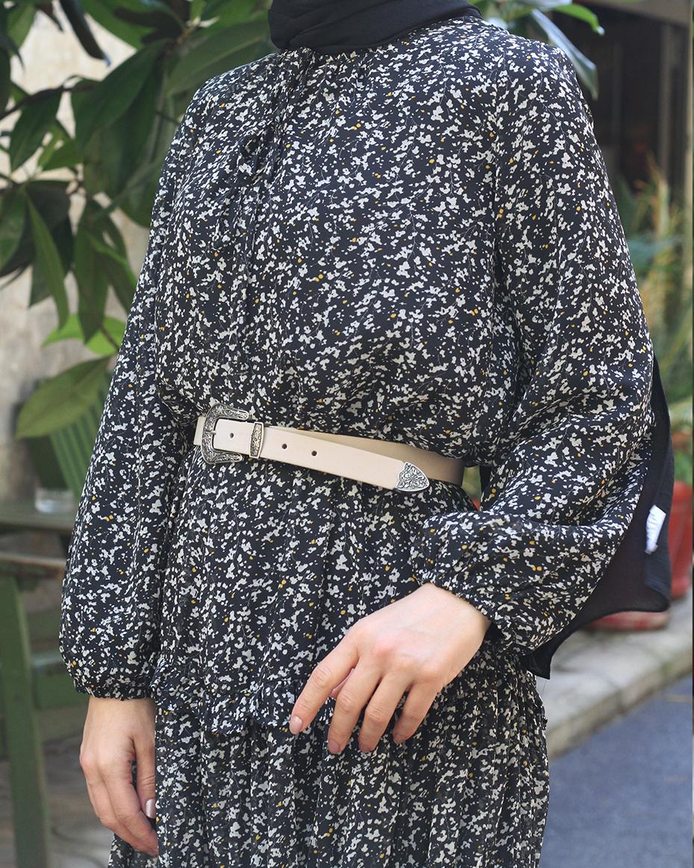 Kolları Lastikli Astarlı Şifon Elbise SİYAH-BEJ