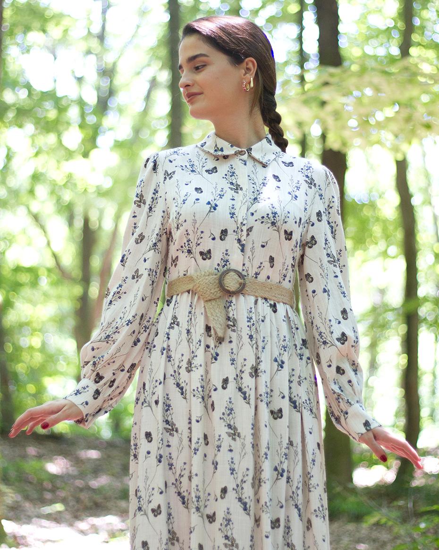 hasır kemerli çiçek desenli elbise EKRU-MAVİ