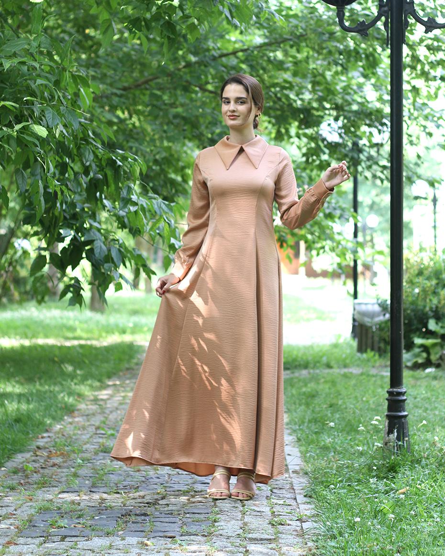 Yakalı kuplu elbise Pudra
