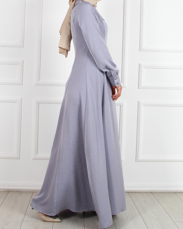 Yakalı kuplu elbise Lila