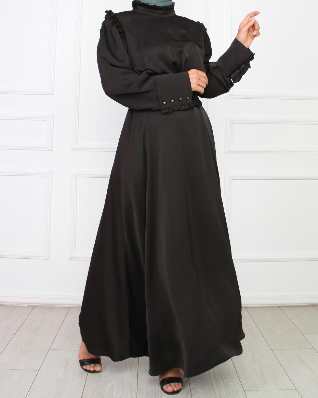 Kolları Manşetli hakim yaka elbise SİYAH