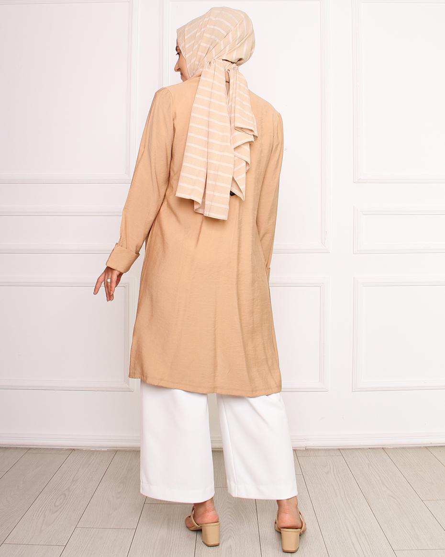 Önü açık düz keten ceket CAMEL