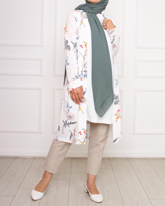 Çiçek desenli önü açık ceket EKRU