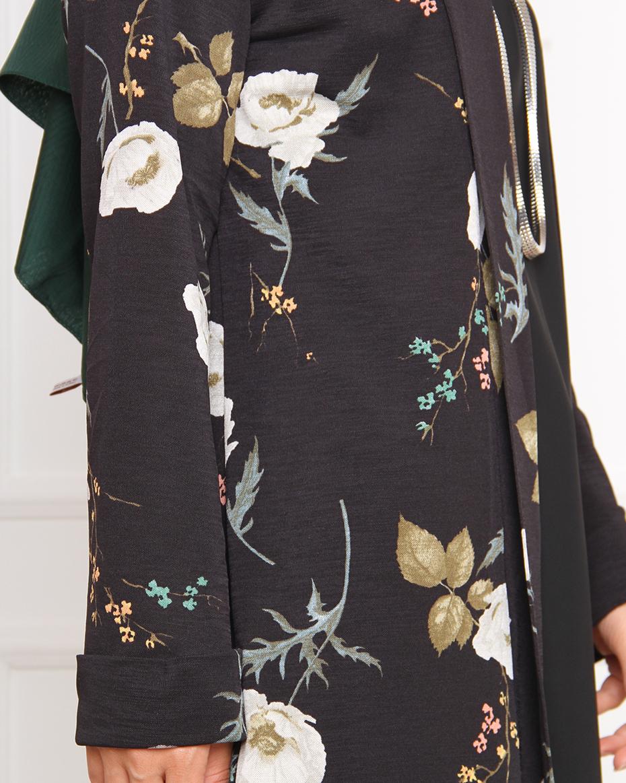 Çiçek desenli önü açık ceket SİYAH