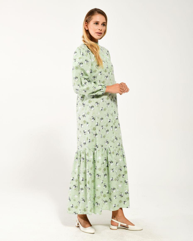 Boydan Düğmeli Kolları Lastikli Çiçekli Elbise YEŞİL