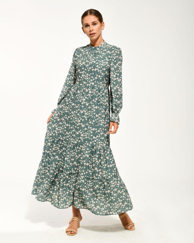 Hakim Yaka Kat Kat Detaylı Kolları Lastikli Çiçekli Elbise YEŞİL
