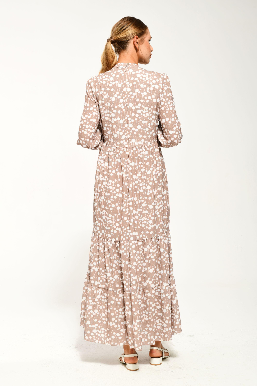 Hakim Yaka Kat Kat Detaylı Kolları Lastikli Çiçekli Elbise BEJ