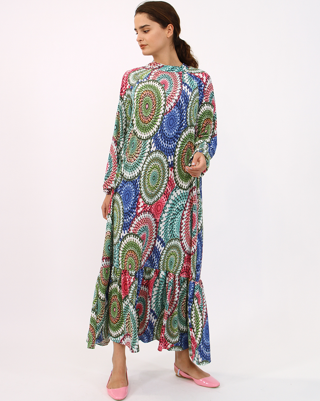 Buzi Kumaş Dalga Desen Elbise RENKLİ