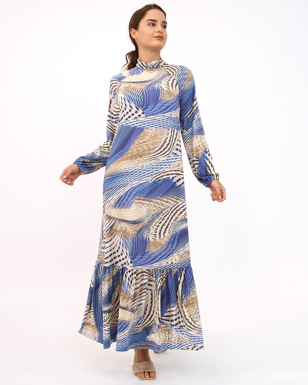 Buzi Kumaş Dalga Desen Elbise MAVİ