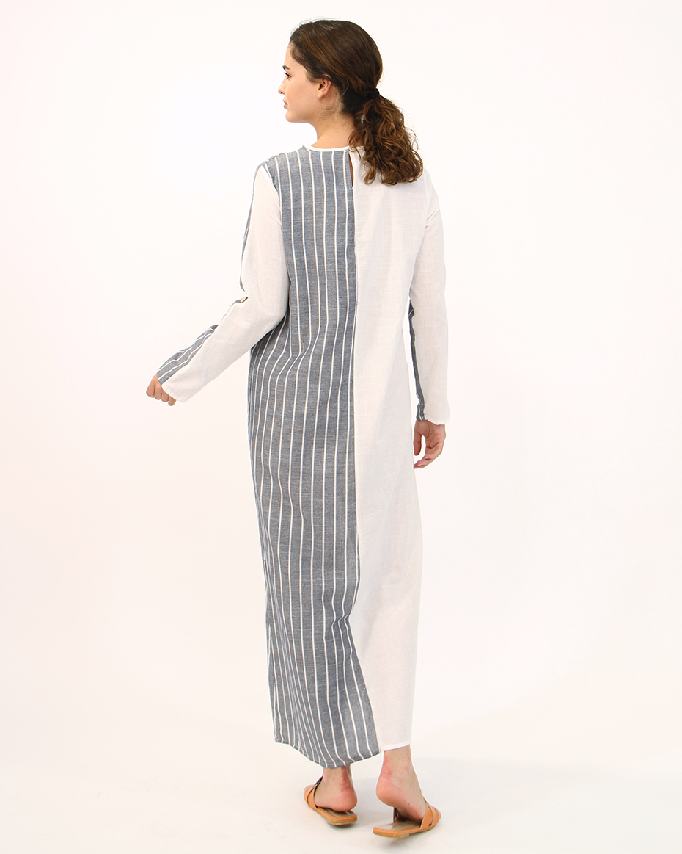 Önden Cepli İki Desenli Elbise GRİ-EKRU