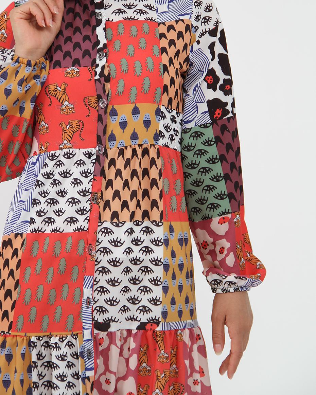 Boydan Düğmeli Desenli Elbise RENKLİ