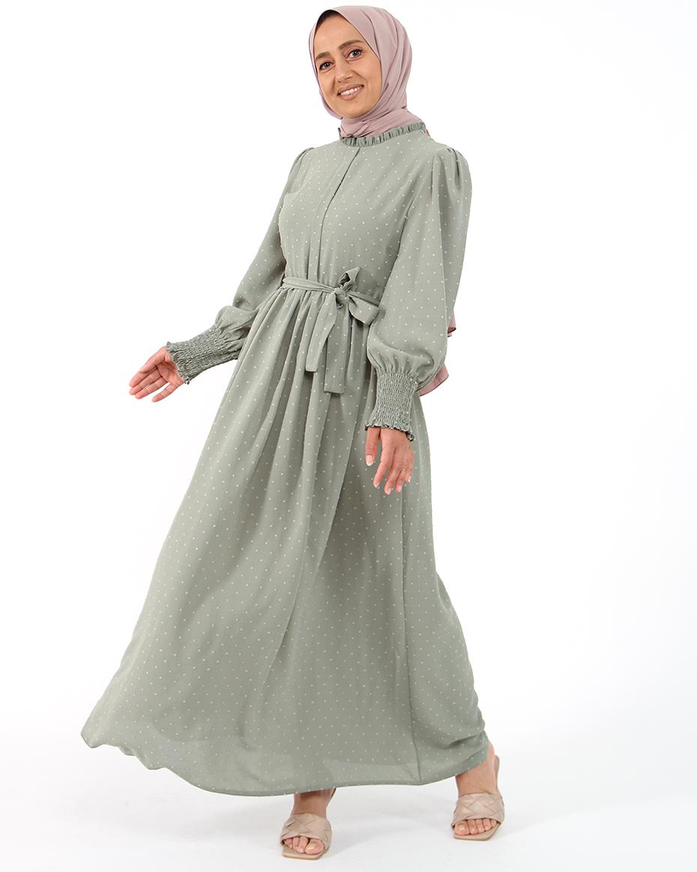 Kollları Lastikli Kalın Manşetli Kendinden Puhantiyeli Elbise YEŞİL