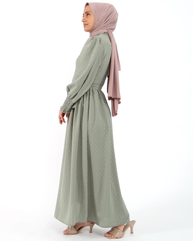 Kollları Lastikli Kalın Manşetli Kendinden Puhantiyeli Elbise PUDRA