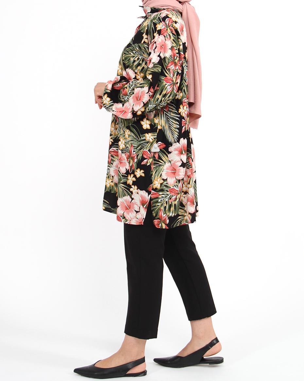Önden Düğmeli Yanları Yırtmaçlı Çiçekli Tunik SİYAH-YEŞİL