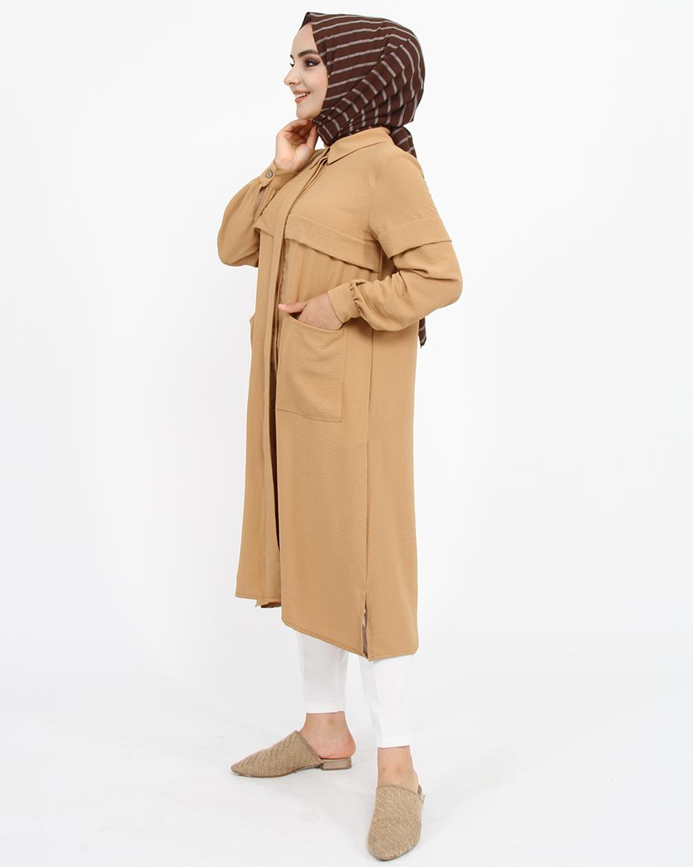 Önden İki Cep Detaylı Gizli Düğmeli Erkek Yaka Tunik Camel