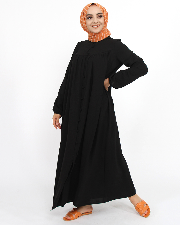 Önden Düğmeli Göğüsten Mobalı Kapşonlu Kap Siyah