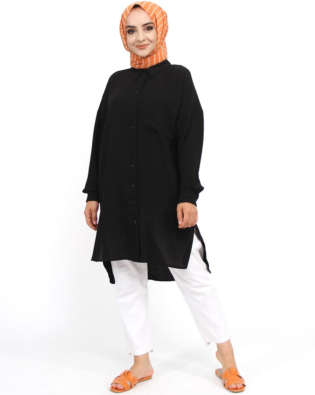 Göğüns Kısmı Cepli Önü Kısa Arkası Uzun Tunik Siyah