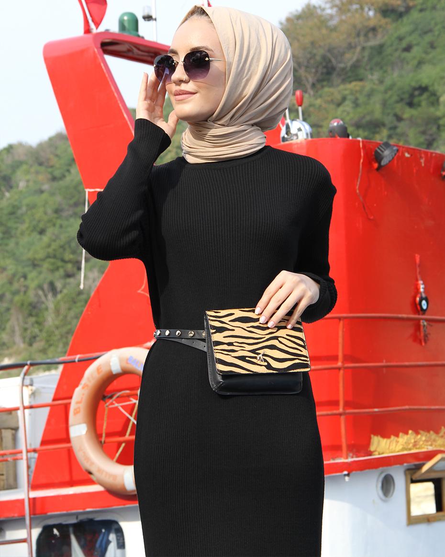 Yarım Balıkçı Yaka Fitilli Örgü Elbise Siyah