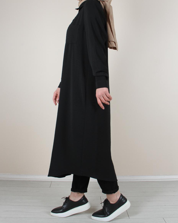 Önden Düğmeli Tek Cep Detaylı Tunik Siyah