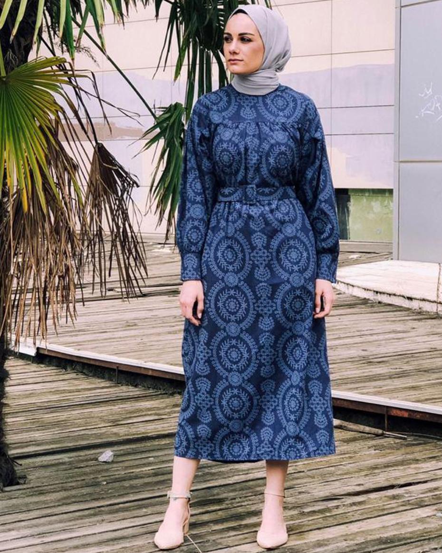 Kolları Manşetli Etnik Desen Kemerli Elbise Indigo