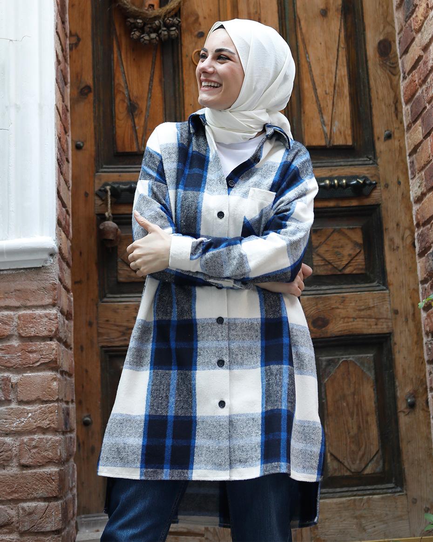 Önden Düğmeli Önü Kısa ARkası Uzun Tunik Saks Mavi