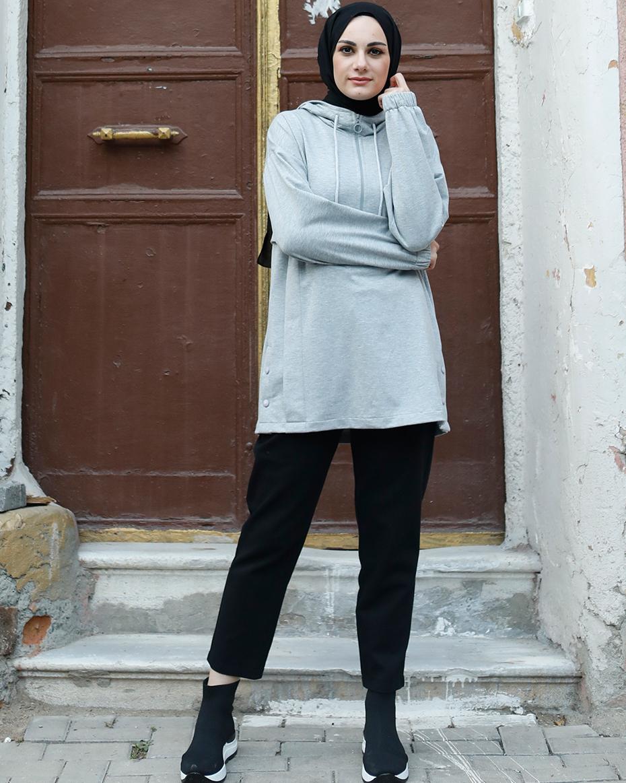 Kapşonlu Önden Yakası Fermuarlı Etek Ucu Çıt Çıtlı Tunik Gri