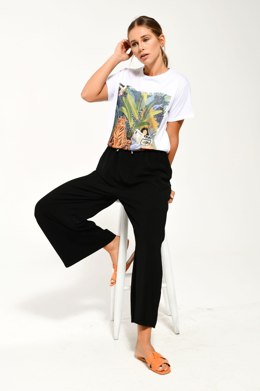 Beli Lastikli Bol Paça Pantolon Siyah
