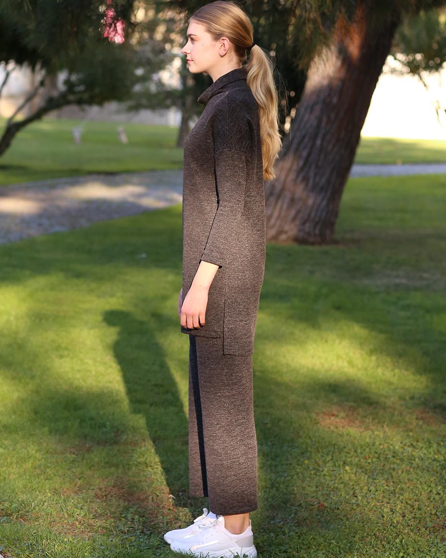 Düşük Omuz Detaylı Degaje Yaka Pantolonlu Takım Siyah