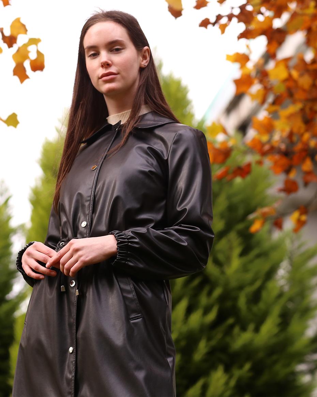 Belden Bağlamalı Çıt Çıtlı Deri Ceket Siyah
