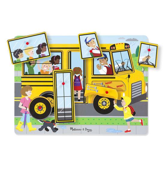 Ahşap Sesli Yapboz-The Wheels on the Bus