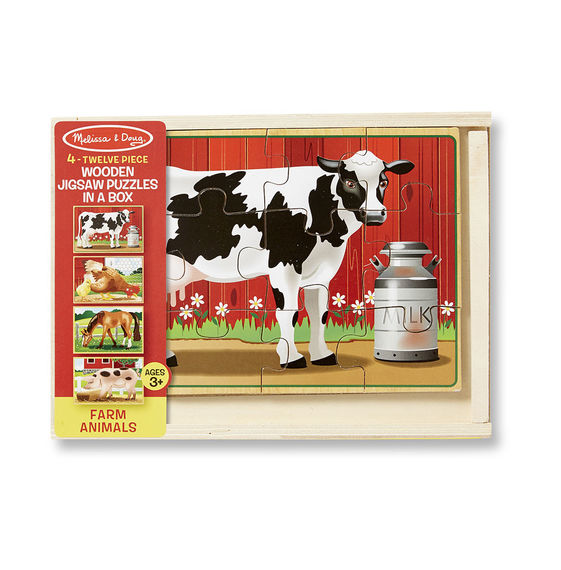 Ahşap 12x4 Yapboz Seti - Çiftlik Hayvanları