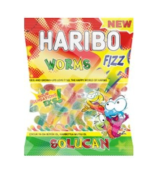 HARIBO WORMS FIZY SOLUCAN 70 GR