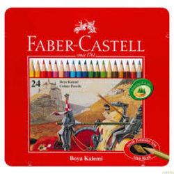 FABER CASTELL 24'LÜ KURU BOYA METAL KUTU
