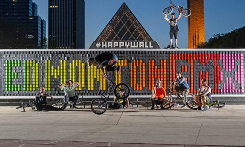 "ABOUT THAT INTRO PHOTO: This is Edmonton's ""Happy Wall"" which features wooden panels you can flip over to create designs or text. On any given day, one can expect to read a variety of profanities written on the wall. Leave it to the BMXers to produce a clean message! Photo: Cedric De Rodot"