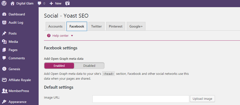 social and Facebook settings of Yoast SEO WordPress plugin