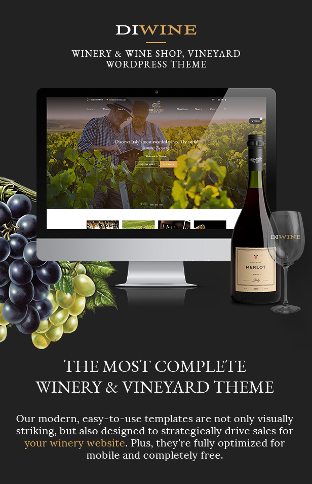 Diwine - Winery & Wine Shop, Vineyard WordPress Theme - 1