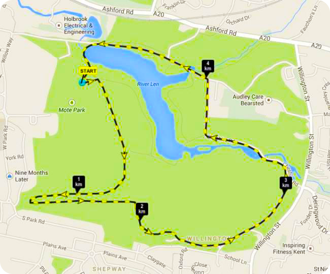 Dog Jog Maidstone Route