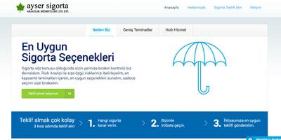 Ayser Sigorta Aracılık Hizmetleri Limited Şirketi websitesi