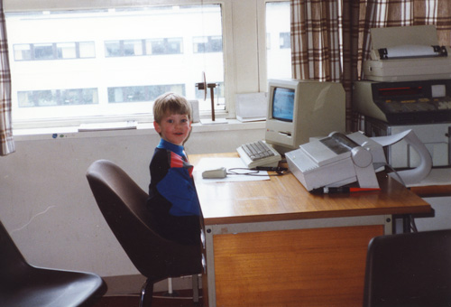 Me when I was younger with an old Mac Classic II