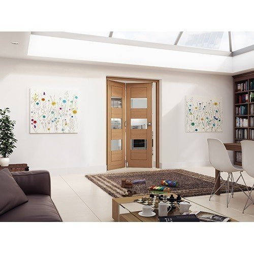 DoorsDirect2u JELD-WEN 2 Door Cottage White Oak Horizontal Clear Glazed Roomfold Doorset