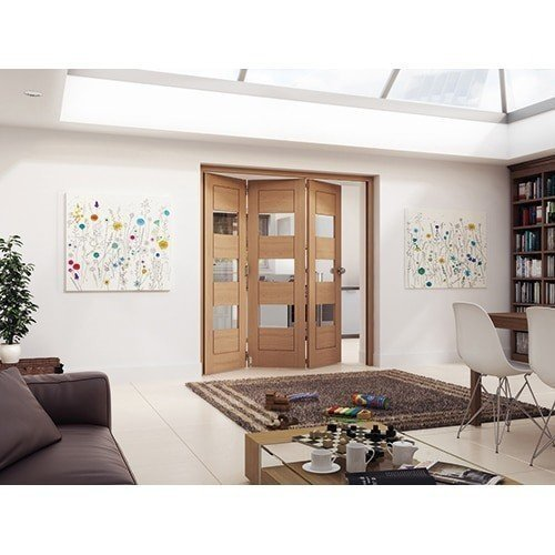 DoorsDirect2u JELD-WEN 3 Door Cottage White Oak Horizontal Clear Glazed Roomfold Doorset