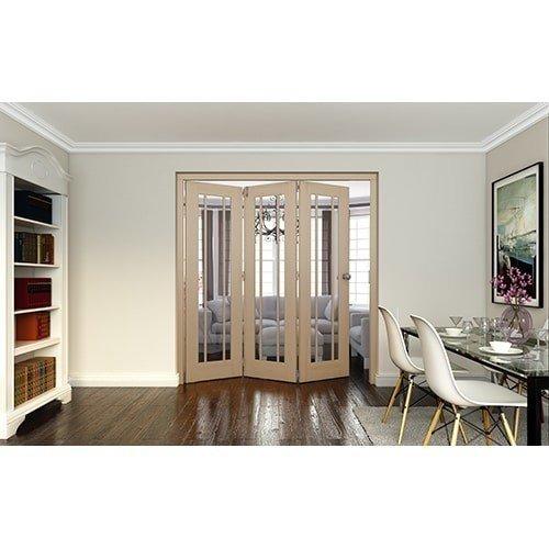 DoorsDirect2u JELD-WEN 3 Door Worcester White Oak Clear Glazed Roomfold Doorset