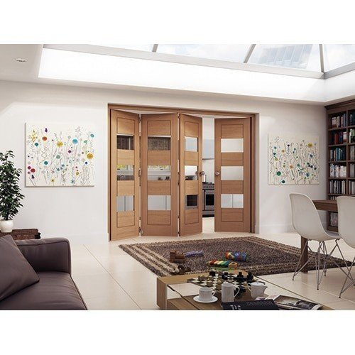 DoorsDirect2u JELD-WEN 4 Door Cottage White Oak Horizontal Clear Glazed Roomfold Doorset