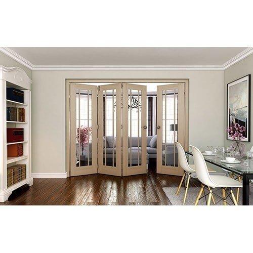 DoorsDirect2u JELD-WEN 4 Door Worcester White Oak Clear Glazed Roomfold Doorset