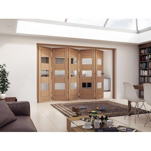 DoorsDirect2u JELD-WEN 5 Door Cottage White Oak Horizontal Clear Glazed Roomfold Doorset
